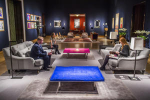 Art collection of Sting and Trudie Styler at Christie's, London, Britain - 17 Feb 2016 Yves Klein tables Bleu and Rose