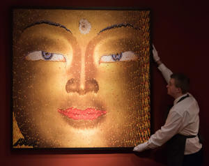 Art collection of Sting and Trudie Styler at Christie's, London, Britain - 17 Feb 2016 David Mach. Buddha. Est: £7,000-10,000