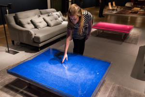 Art collection of Sting and Trudie Styler at Christie's, London, Britain - 17 Feb 2016 Yves Klein. Table bleue. Est: £20,000-30,000. Table rose. Est: £20,000-30,000