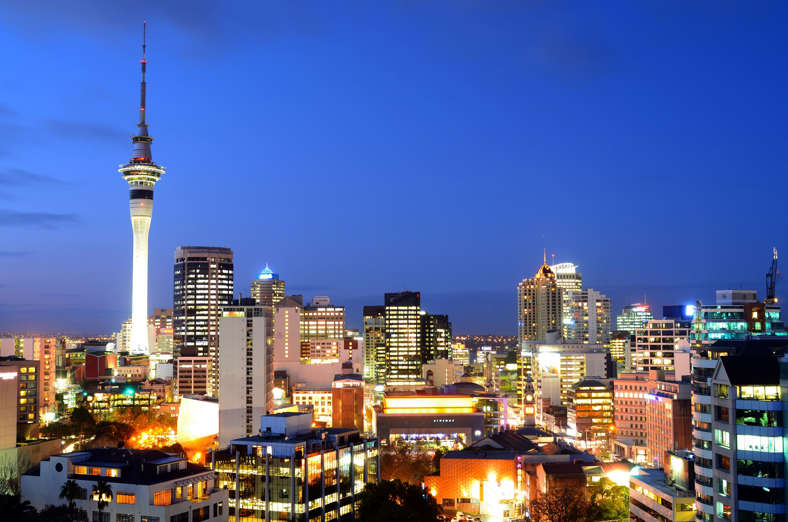 Auckland, New Zealand - August 20, 2015: Aerial view of Auckland financial center skyline at duskt. Auckland New Zealand has 5th best quality of life, ranking out of 218 major world cities