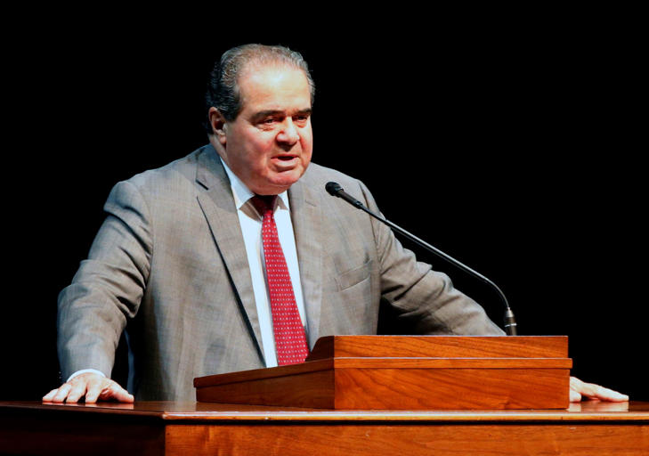 FILE - In this Oct. 20, 2015 file photo, Supreme Court Justice Antonin Scalia speaks at the University of Minnesota in Minneapolis.