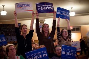 Supporters of Democratic presidential candidate Sen. Bernie Sanders (I-VT) cheer as Sanders speaks at the Claremont Opera House on February 2, 2016 in Claremont, New Hampshire.