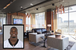 Roman Harper's Charlotte home  Inset: This is a 2015 photo of Roman Harper of the Carolina Panthers NFL football team. This image reflects the Carolina Panthers active roster as of Tuesday, June 16, 2015 when this image was taken. (AP Photo)