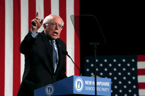 Democratic U.S. presidential candidate Bernie Sanders speaks at the 2016 McIntyre-Shaheen 100 Club Celebration, presented by the New Hampshire Democratic Party, at the Verizon Wireless Arena in Manchester, New Hampshire February 5, 2016.
