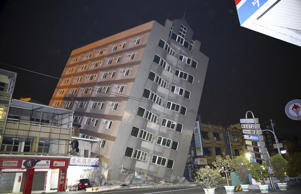 A building is damaged from an earthquake in Taiwan.
