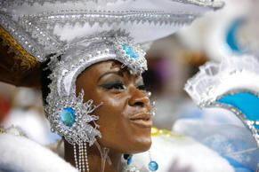 A dancer from the Nene de Vila Matilde samba school performs during a carnival p...
