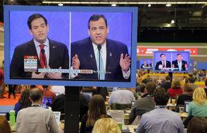Republican presidential hopeful Marco Rubio (left) and Chris Christie are seen o...