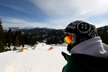 A skier looks on during the ski slopestyle portion of the Alli Dew Tour on February 20th, 2009 at Northstar Resort in Truckee, California.