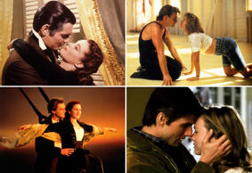 Clockwise: Gone With the Wind; Dirty Dancing; Jerry Maguire and Titanic