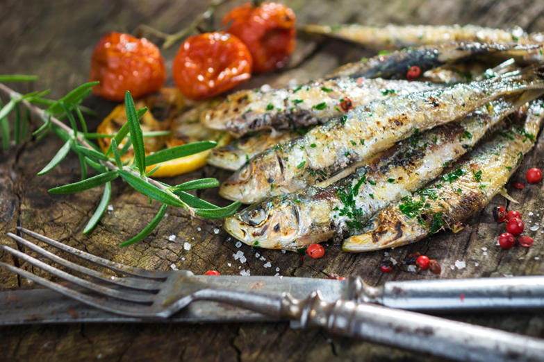 "<p>Sardines are a potent source of omega-3s, a nutrient that can improve everything from your cholesterol profile and mood to your ability to ward off Alzheimer's. In one small study of 148 people who were at risk of diabetes, researchers found that those with a higher ratio of omega-3 to omega-6 in their blood were more likely to improve their blood glucose levels and reduce their diabetes risk than those with a less favorable profile. You can eat sardines from the can, but for a more sophisticated approach, wrap a sardine around an almond-stuffed olive—one of the 7 Foods That Fight ""Turkey Neck"".</p>"