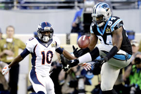 Kony Ealy of the Carolina Panthers intercepts a pass during the first half of Super Bowl against the Denver Broncos on Feb. 7, 2016, in Santa Clara, Calif.