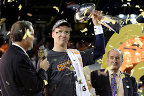 Denver Broncos quarterback Peyton Manning celebrates after his team defeated the Carolina Panthers in Super Bowl 50 on Feb. 7, 2016, in Santa Clara, Calif.