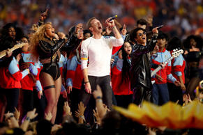 Beyonce, Chris Martin of Coldplay, and Bruno Mars perform during the Super Bowl 50 Halftime Show at Levi's Stadium on Feb.7 in Santa Clara, California.