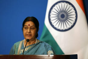 File: Indian Foreign Minister Sushma Swaraj attends the press conference after the thirteenth meeting of the Foreign Ministers of the China, Russia and India at Diaoyutai State guesthouse in Beijing city, China, 02 February 2015.