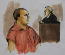 File: In this Wednesday, Dec. 9, 2009 courtroom drawing, David Coleman Headley, left, pleads not guilty before U.S. District Judge Harry Leinenweber, in Chicago to charges that accuse him of conspiring in the deadly 2008 terrorist attacks in the Indian city of Mumbai and of planning to launch an armed assault on a Danish newspaper.
