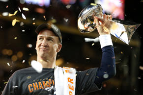 Peyton Manning of the Denver Broncos celebrates with the Vince Lombardi Trophy after his team's Super Bowl 50 victory against the Carolina Panthers on Feb. 7, 2016, in Santa Clara, Calif.