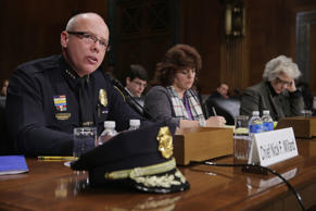 Manchester, New Hampshire Police Chief Enoch Willard, Holly's Song of Hope founder Tonda DaRe and CODAC Behavioral Healthcare COO Linda Hurley testify before the Senate Judiciary Committee about the recent spike in heroin and prescription drug abuse and deaths in his city during a hearing in the Dirksen Senate Office Building on Capitol Hill January 27, 2016 in Washington, DC.