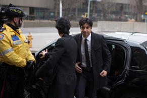 Former CBC radio host Jian Ghomeshi arrives at a Toronto court for day five of his trial on Monday, Feb. 8, 2016.