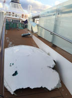 This image made available by Flavio Cadegiani shows damage to Royal Caribbean's ...