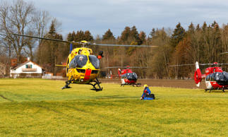 Helicopters of rescue services are seen at a field near Bad Aibling in southwestern Germany, February 9, 2016. About eight people were seriously injured and 12 more slightly hurt in a train crash in the southern state of Bavaria on Tuesday, German police said. REUTERS/Michael Dalder