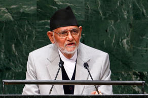 File: Sushil Koirala, Prime Minister of Nepal, addresses the 69th United Nations General Assembly at the U.N. headquarters in New York September 26, 2014.