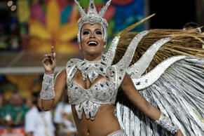 Revellers of Sao Clemente samba school perform during the second night of the carnival parade at Sambadrome in Rio de Janeiro, Brazil, on February 9, 2016.