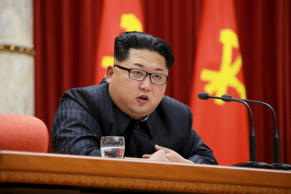 North Korean leader Kim Jong Un speaks during a ceremony on Jan. 13, 2016.