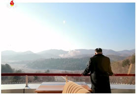 North Korean leader Kim Jong Un watches a long range rocket launch into the air in this still image taken from KRT file footage and released by Yonhap on February 7, 2016.