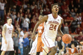 Oklahoma Sooners guard Buddy Hield (24) reacts after intercepting an inbounds pass to seal the victory against the Texas Longhorns. The Sooners defeated the Longhorns 63-60 at Lloyd Noble Center.