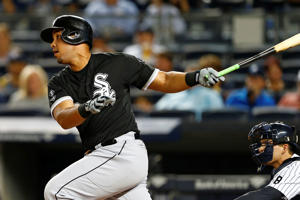 Jose Abreu #79 of the Chicago White Sox in action against the New York Yankees during a MLB baseball game at Yankee Stadium on September 24, 2015 in the Bronx borough of New York City.
