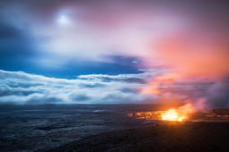 One of the most dynamic lava lakes on the planet, the Halema'uma'u Crater is a pit crater inside the Hawaii Volcanoes National Park. Catch an extraordinary sight of wind, full moon and the volcano.