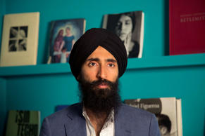 File: Waris Ahluwalia, a member of the Sikh community, gives an interview in Mexico City, Tuesday, Feb. 9, 2016.