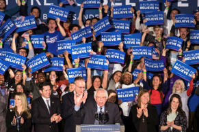 Democratic presidential candidate, Sen. Bernie Sanders, I-Vt, address supporters...