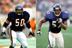 Chicago Bears linebacker Mike Singletary in 1985 and Baltimore Ravens linebacker...