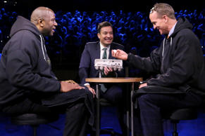 Basketball player Magic Johnson, host Jimmy Fallon, and football quarterback Peyton Manning play Egg Russian Roulette on February 10, 2016