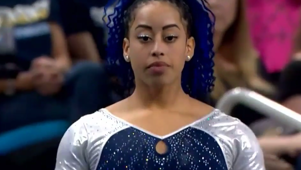 Gymnast stuns crowd with incredible routine