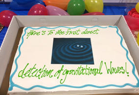 Erin Ryan tweeted a photo of a cake with a message celebrating the news of the gravitational wave discovery. Erin Ryan via Twitter