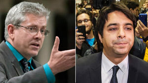 Jian Ghomeshi, right, and NDP MP Charlie Angus, left, have known each other for more than two decades.