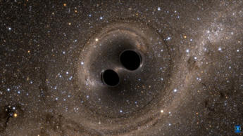 The collision of two black holes holes -- a tremendously powerful event detected for the first time ever by the Laser Interferometer Gravitational-Wave Observatory, or LIGO -- is seen in this still from a computer simulation created by the multi-university SXS (Simulating eXtreme Spacetimes) project. (SXS)