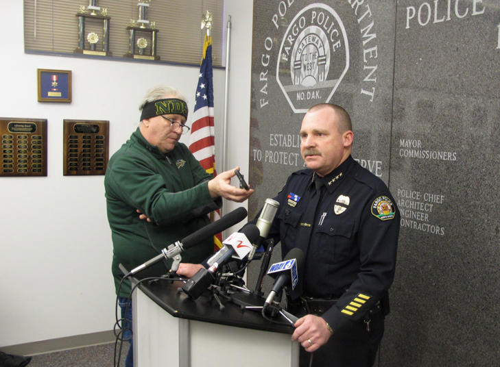 Fargo Police Chief Dave Todd appears at a news conference at police headquarters in Fargo, N .D., on Thursday, Feb. 11, 2016 to talk about a shooting that left one of his officers mortally wounded and a suspect dead.