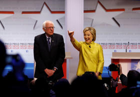 Democratic U.S. presidential candidates Senator Bernie Sanders and former Secret...