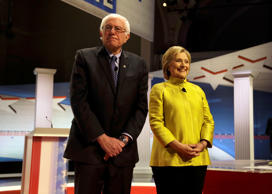 Democratic presidential candidates Sen. Bernie Sanders, I-Vt, left, and Hillary ...