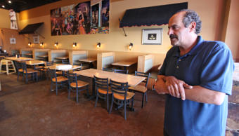 Nazareth restaurant owner Hany Baransi describes the machete attack last night in his restaurant on Friday, Feb. 11, 2016 in Columbus, Ohio.