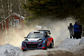 Haydon Paddon competes in the Sweden leg of the WRC.