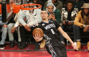 Zach LaVine #8 of the Minnesota Timberwolves dunks the ball during the Verizon Slam Dunk Contest on Feb. 13 at Air Canada Centre in Toronto.