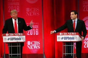 Republican presidential candidates Donald Trump (left) and Sen. Marco Rubio part...