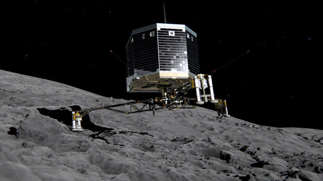Bild 1 av 21: DARMSTADT, GERMANY - NOVEMBER 12: (EDITORIAL USE ONLY) In this February 17, 2014 handout photo illustration provided by the European Space Agency (ESA) the Philae lander is pictured descending onto the 67P/Churyumov-Gerasimenko comet. ESA will attempt to land the Philae lander onto the comet in the afternoon (GMT) of November 12 which, if successful, will be the first time ever that a man-made craft has landed onto a comet. The Philae lander, launched from the Rosetta probe, is a mini laboratory that will harpoon itself to the surface, though a problem with a gas thruster detected November 11 is making the outcome of the landing uncertain. (Photo ESA via Getty Images)