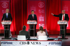 GREENVILLE, SC - FEBRUARY 13: Republican presidential candidates (L-R) Jeb Bush, Sen. Ted Cruz (R-TX) and Donald Trump participate in a CBS News GOP Debate February 13, 2016 at the Peace Center in Greenville, South Carolina. Residents of South Carolina will vote for the Republican candidate at the primary on February 20.