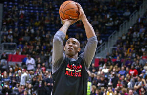 Kobe Bryant of the Los Angeles Lakers shoots the ball during the NBA All-Star Practice as part of 2016 All-Star Weekend at the Ricoh Coliseum on February 13, 2016 in Toronto, Ontario, Canada.