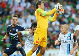 Goal Keeper Thomas Sorensen of the City makes a save during the round 19 A-League match between Melbourne City FC and Melbourne Victory at AAMI Park on February 13, 2016 in Melbourne, Australia
